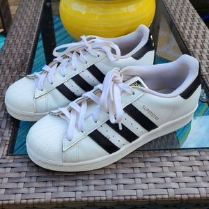 ADIDAS SUPER STAR LEATHER SNEAKERS, WHITE, 8W